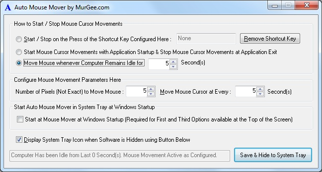 Automatic Mouse Movement Software to Keep Computer System Active